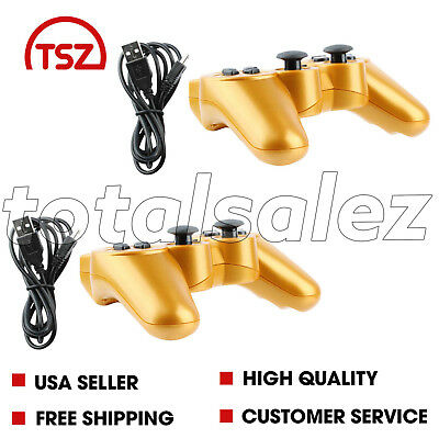 2 For Sony Playstation 3 PS3 Gold Wireless Bluetooth Video Game Controller Cord