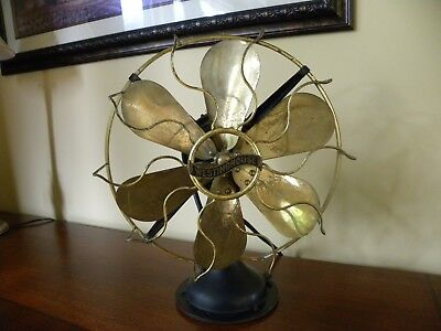 "Vintage Westinghouse Brass Fan Blades And Cage 12"" Oscillating 3 Speed Works"