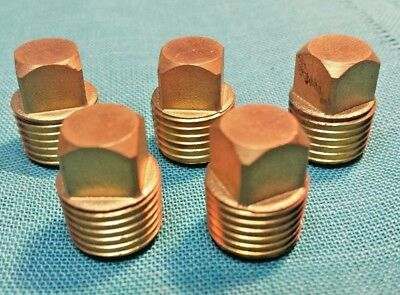"Lot of 5 pcs 1/4 NPT Square Head Brass Port Plugs  3/8"" Square 0.700"" Long New"