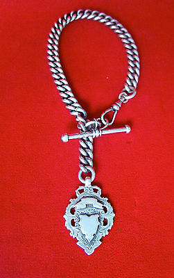 """Antique Victorian Sterling Silver """"Albert"""" Chain Bracelet With Medallion and Fob"""