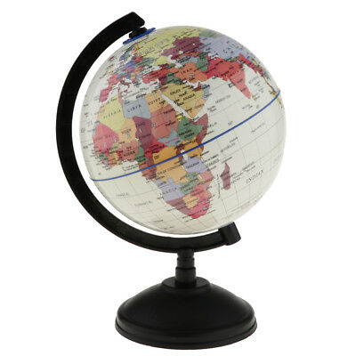 14cm World Globe Map Nation Ocean Geography Education Toy Swivel Stand White