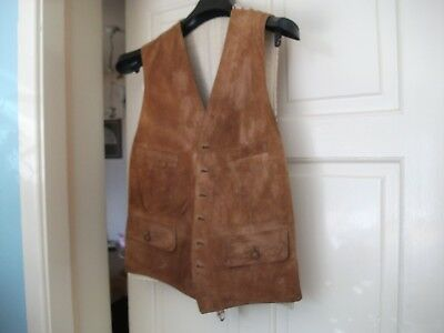 Fantastic Vintage Mens Suede Front Tattershall Fabric Back Hunting Waistcoat