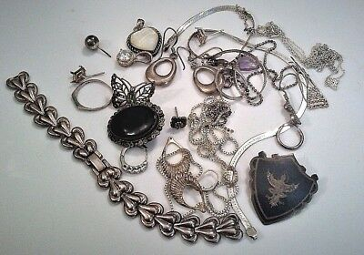Mixed Lot Sterling 925 Silver Scrap Repurpose Jewelry Parts Findings