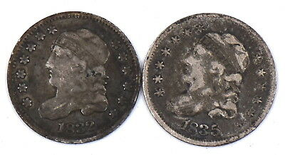 1835 & 1832 Capped Bust Half Dime Large Letter 90% Silver Collectible Us Coin Vg