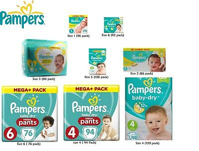 Pampers Baby Dry Pants Layers Size 1 - 6  Mega + Pack 2018  FREE P&P