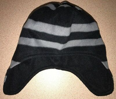 671909232cd7e boys size 4 to 7 BLACK GRAY STRIPED FLEECE WINTER HAT ears covered TARGET  soft