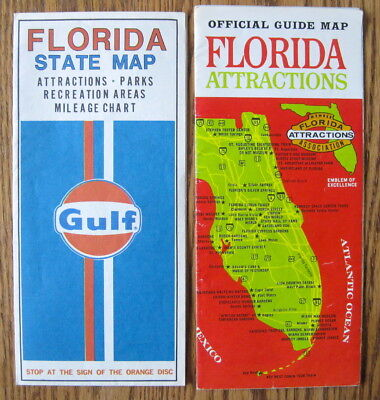 Florida Attractions Map.Vintage Florida State Map Gulf Florida Attractions Map 5 99