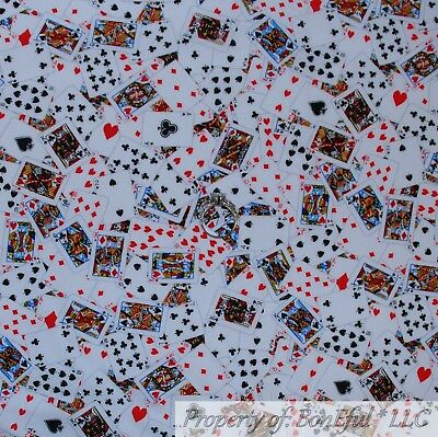BonEful FABRIC FQ Cotton Quilt White Black Red B&W Playing Cards Heart Casino US