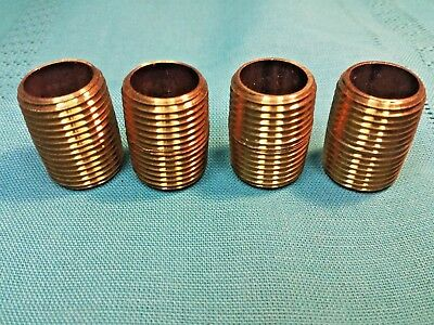 "Lot of 4 pcs 1/2 NPT Brass Close Pipe Nipples 1-1/8"" Long  Only $4.50 Each New"