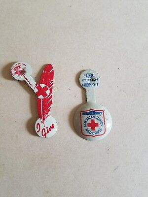 Vintage American Junior Red Cross Pin Arc Fold Over Tab & I Give Pin