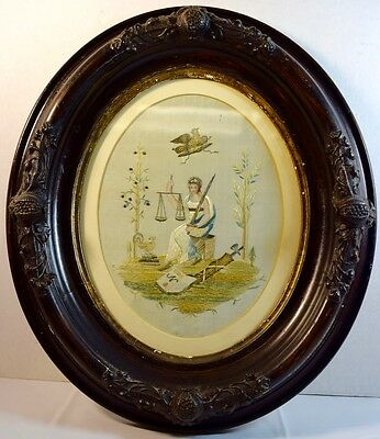 """Fine Antique Needlework on Silk, Victorian Picture of """"Justice"""""""