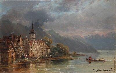 PIERRE JUSTIN OUVRIE-French Realist-Original Signed Oil- French Village/Coastal