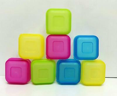 8 or 16 Plastic Mini Storage Boxes Sauces Herb Freezer Food Pots Containers Lids