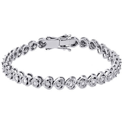 Ladies .925 Sterling Silver 1 Row Prong White Diamond Tennis Bracelet .50ct Jewelry & Watches Fine Jewelry