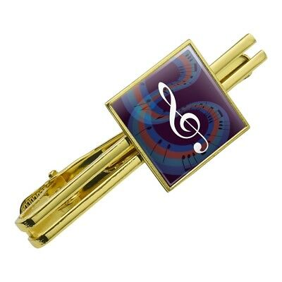 55cbb2c38045 Treble Clef on Music Notes Square Tie Bar Clip Clasp Tack- Silver or Gold