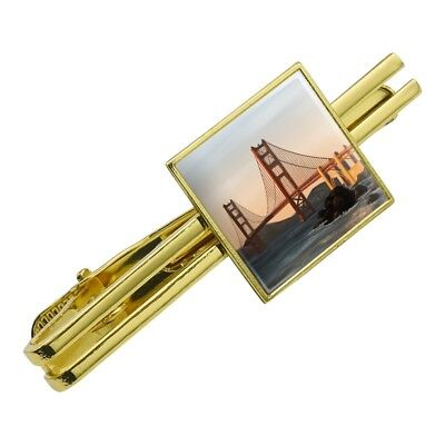 Golden Gate Bridge San Francisco Square Tie Bar Clip Clasp Tack- Silver or Gold