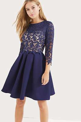 e93340456e1 Wallis Wallis Little Mistress Navy Long Sleeve Crochet Dress size 10 new .