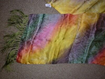 Vintage Bright Fringed Silk  Long Scarf  Good Condition
