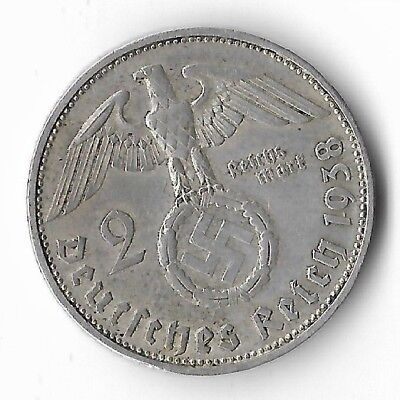 Rare Old Antique Silver 1938 wwii Germany Eagle Great War German Collection Coin