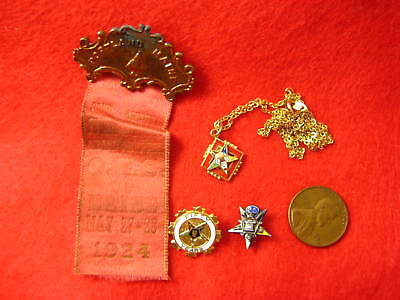 Lot of THREE Vintage ORDER of EASTERN STAR Pins Badges + One OES Necklace