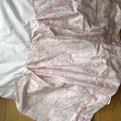Pottery Barn Kids Alphabet Pleated Crib Skirt Pink White French Country Toile