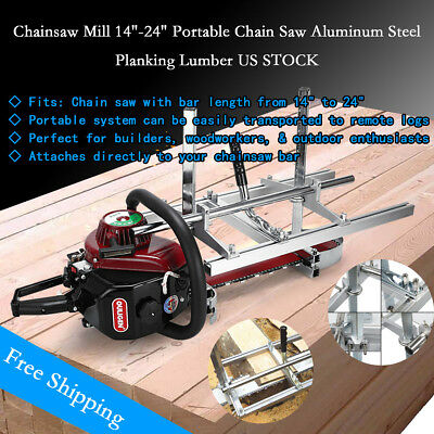 """Chainsaw Mill 14""""-24"""" Portable Chain Saw Aluminum Steel Planking Lumber US STOCK"""