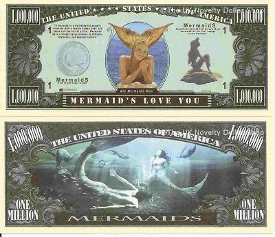 Mermaids Love You One Million Dollar Bills x 4 New Gift A World Under the Sea