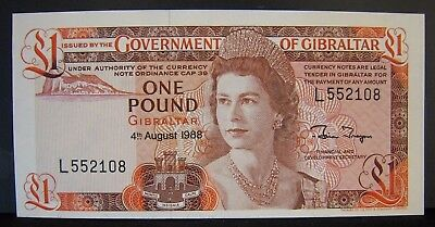 1988 Gibralter, Government of, L1 Pound, CU Note Nice   ** FREE U.S SHIPPING **