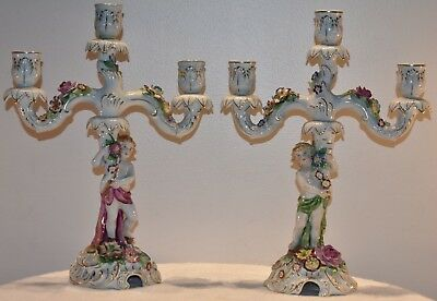 2 Von Schierholz Cherub and Floral 2 Arm Porcelain Candle Holders for 3 Candles