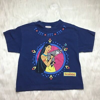 Disney Pocahontas Vintage Blue Short Sleeve Graphic T-Shirt Youth Size Medium