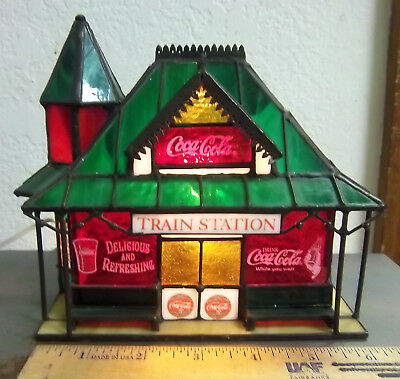 Coca Cola Stained Glass TRAIN STATION with light, original box, from 1990s, NICE