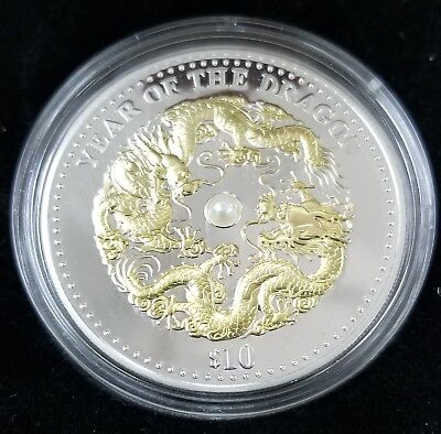 Fiji 2012 $10 Lunar Year of the Dragon 1oz Fine Silver-W/Box & COA.  No Reserve!
