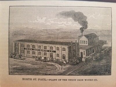 1888 Plant of Union Iron Workers North St. Paul MN Wood Engraving NW Magazine