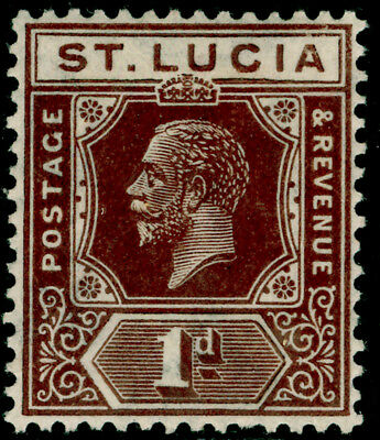 ST. LUCIA SG93, 1d deep brown, LH MINT.
