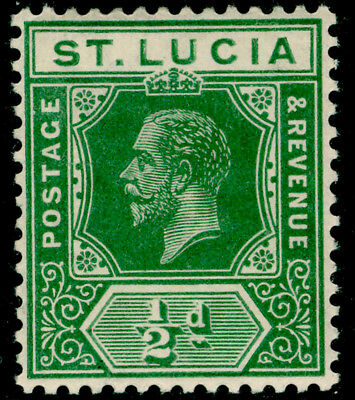 ST. LUCIA SG78, ½d deep green, LH MINT.