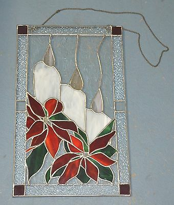 """artisan stained glass Christmas candles poinsettias leaded hanging 16 x 10"""""""