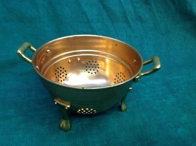 Antique/vintage Small Copper & Brass Toe Footed Strainer Colander Brass Handles