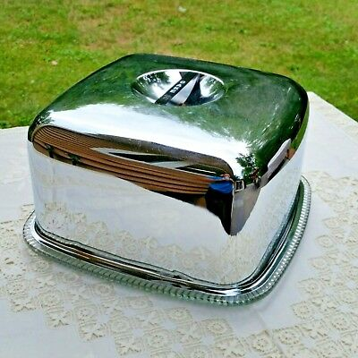 Vintage Chrome Cake Carrier Square With Mid Century Style Plate