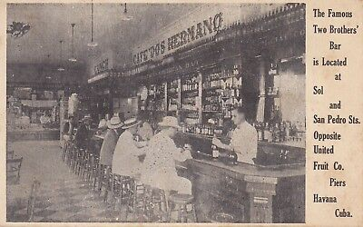 Old Vintage Rare Postcard Havana Cuba Two Brothers Bar Sol And San Pedro Streets