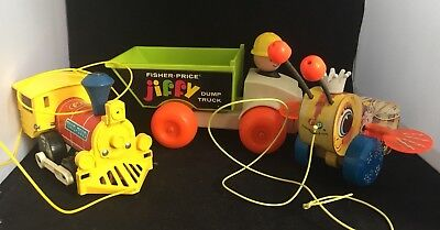 Fisher Price Pull Toys Lot of 3  Toot Toot Train, Queen Bee, Jiffy Dump Truck