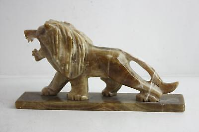 """6.5"""" Vintage Hand Carved Stone Lion Statue Home Decor Carving"""