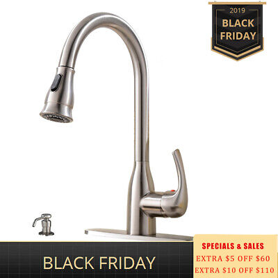 Best Commercial Single Handle Pull Down Sprayer Kitchen Faucet Brushed Nickel