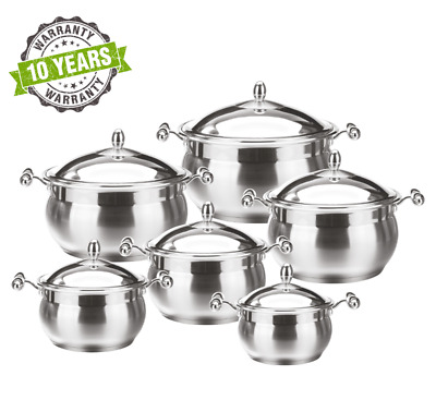 12pc Stainless Steel Induction Casserole Stockpot Cooking Pot Pan Cookware Set