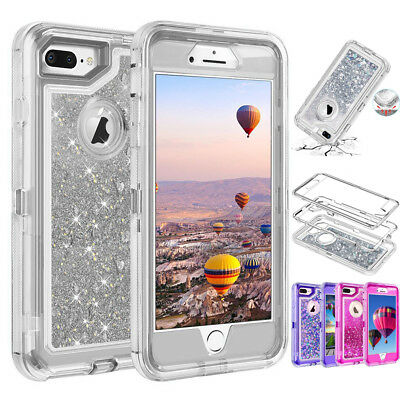 Dynamic Liquid Sparkle Glitter Clear Shockproof Case Cover For iPhone X 8 7 Plus