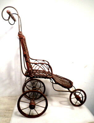 Antique Victorian 1900's Wicker 3 Wheel Baby Doll Carriage Stroller