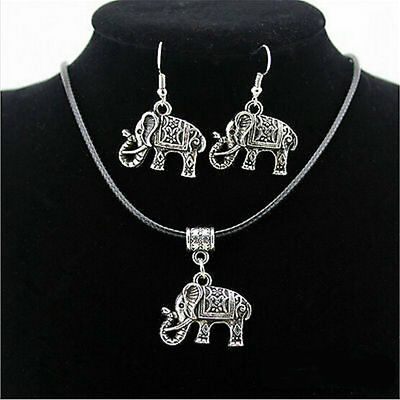 Chinese Style Retro Tibet Silver  Elephant Pendant Necklace Earring Jewelry Set