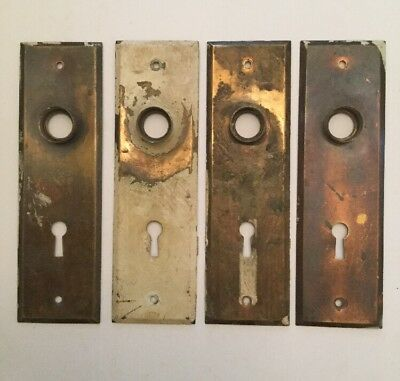 Vintage Lot Of 4 Brass Door Plates Skeleton Key Holes Architectural Salvage