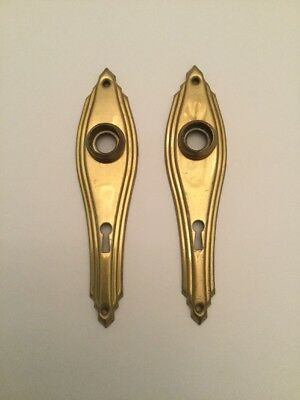 Vintage Art Deco Door Plates With Skeleton Key Hole Brass Look