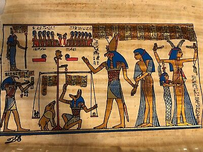 "Handmade Papyrus Egyptian Anubis Judgment Day Painting..13"" x 16.5"""