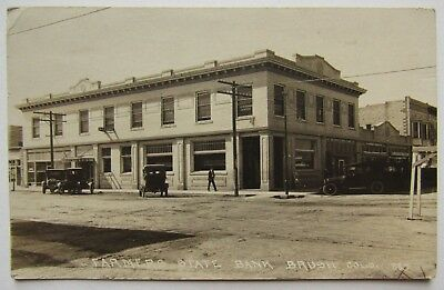 Postcard, Real Photo, Brush, Colorado, Farmers State Bank